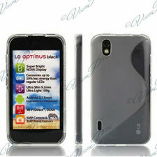 CASE COVER COVERS TPU S SILICONE GEL ARGENT GREY + FILMS FOR LG OPTIMUS P970