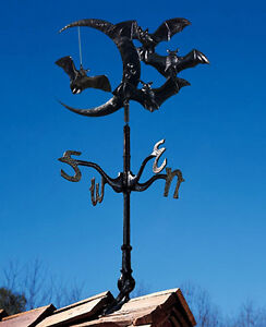 "Whitehall Moon & Bats 30"" Weathervane Ships FAST in Rooftop OR Garden Mount"