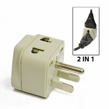 OREI 2 in 1 USA Travel Adapter Plug - UK/EU to US Type B -Grounded Universal