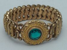 Vintage American Queen Lovely Expansion Bracelet W/ Green Stone