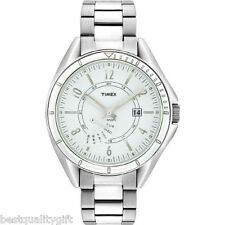 NEW-TIMEX SILVER STAINLESS STEEL WHITE DIAL RETROGRADE WATCH-T2M434