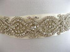 Rhinestone Applique Wedding Sash Ivory Bridal Sash Belt Dress  Eilish