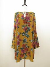 409807f6437 Anthropologie Dress Tunic Mustard Yellow Floral Bell Boho Mini Size Large