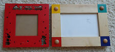 Lot Kids Red Square Train Picture Frame and Natural Wood