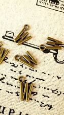 Alphabet letter W charm bronze vintage style jewellery supplies C32