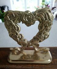 Polished Solid Brass Heart & Bow Wreath Doorstop