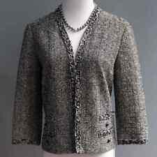 Vintage 60s Butte Knit 100% Lana Negro Blanco Chaqueta Tejido FRONTAL TALLA Xs