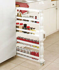 ROLLING SLIM CAN & SPICE RACK HOLDER Kitchen Storage Cabinet Shelf Organization