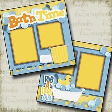 BATH TIME - 2 Premade Scrapbook Pages - EZ Layout 2484