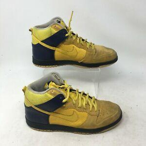 Nike Dunk High Cal Bears Michigan Sneakers Lace Up Leather Yellow Blue Mens 8