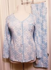 KAREN NEUBURGER Pajama Set, 2X, Aqua White Brocade, Soft Cotton, ORIG $66 *NEW!*