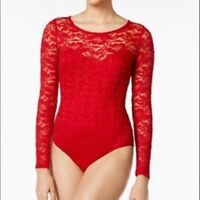 New Material Girl Juniors Lace Long Sleeve Bodysuit XS Red