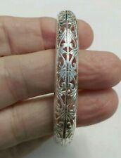 Nice sterling silver filigree open cuff bracelet Thailand preowned excellent G