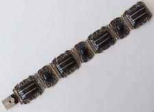 Eagle Signed Black Onyx Bracelet Vintage Sterling Silver Mexico With