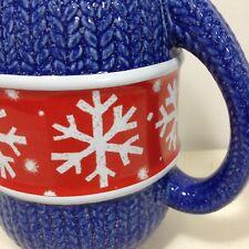 Hallmark Christmas Coffee Mug Blue Mitten Snowflakes Snow Red Holiday Tea Cup