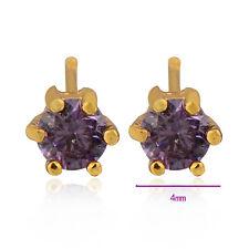 Yellow Gold Filled Amethyst Purple Stud Fashion Jewelry Womens Round Earrings