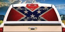 REDNECKS DON'T SURRENDER CONFEDERATE WINDOW GRAPHIC DECAL - (3M AND USA MADE)