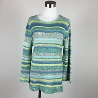 Coldwater Creek womens sweater sz S loose knit striped greens blues scoop neck