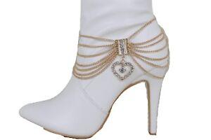 Women Gold Metal Chain Boot Bracelet Shoe Anklet Bling Retro Bling Heart Charm