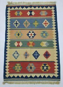 Vintage Handmade Traditional Oriental Red Beige Blue Kilim Rug Carpet 89x62cm