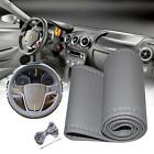 Car Truck PU Leather Steering Wheel Cover With Needles and Thread DIY Gray MT