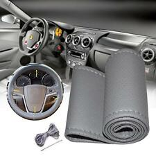 Car Truck PU Leather Steering Wheel Cover With Needles and Thread DIY Gray ZH