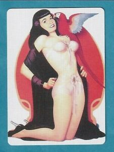 Pin Up Betty Page with a Parrot - Modern  Wide Linen  Swap Playing Card