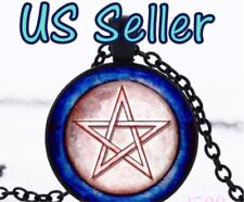 NEW Red Pentagram Cabochon Blue Glass Black Chain Pendant Necklace