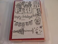 Stampin Up Flaky Friends Stamp Set of 8 NEW UM Snowman Snowmen Mittens Christmas