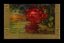 DR JIM STAMPS US FLOWERS BIRTHDAY GREETINGS EMBOSSED TOPICAL POSTCARD