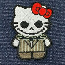 HELLO KITTY AS JACK NIGHTMARE BEFORE CHRISTMAS EMBROIDERED IRON ON PATCH