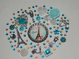 DIY 3D Bling Deco Kit Gems Cabochons Kawaii Flatbacks Cell Case Badge Reel Kits