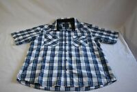 Bruno New York Mens Size XL White Blue Plaid Short Sleeve Snap Buttons Up Shirt