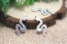 30pcs snake Charms Antique Tibetan silver snake charm pendants 26x11mm