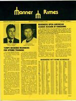 1977 Seattle Mariners Rimes Newsletter  Vol 1 Number 1- Rare and Hard to Find