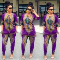 Fashion Women African Print Casual Straight Long two-piece Suit Tops+Pant CA