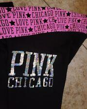 Victoria's Secret Yoga Pants sz XS Love Pink Chicago Women's Black Leggings