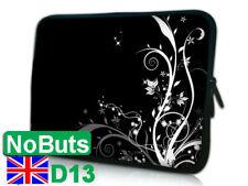 "D13 white flower 10"", 10.1"", 10.2"" Ipad tablet Notebook Sleeve Soft Case UK"