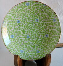 Rosina England Chintz Green Clover Blue Flowers Bone China Saucer Only #5012