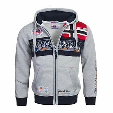 Felpa Geographical Norway Uomo Men Fleece Full Zip Anapurna cappuccio Flyer M Grigio Non applicabile