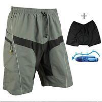Men's Cycling Short Loose Bicycle Shorts Detachable Padded MTB Bike Pants M-3XL