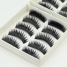 Quality 10 Pairs Natural False Eyelashes Fake Makeup Eye Lashes Lash with Glue