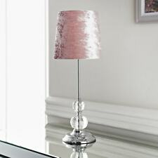Blush Crystal Table Lamp Velvet Design Colourful Addition Home Bedroom Lights