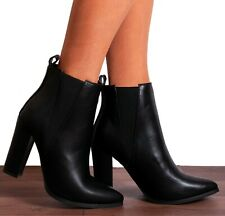 BLACK CHELSEA POINTED BLOCK HIGH HEELED ANKLE BOOTS HIGH HEELS SHOES SIZE 3-8