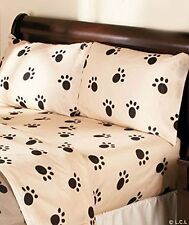 Paw Print Full Size Sheet Set. Beautiful bedding ensemble for any animal lover.