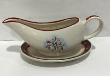 Royal Seasons Stoneware Snowman Red Gravy Boat with Under Plate Saucer Red Whote