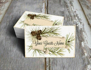 WOODSY RUSTIC PINE WEDDING PLACE CARDS, TAGS or ESCORT CARDS #348