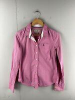 Jack Wills London Women's Long Sleeve Button Shirt Size 8 Pink Stripe
