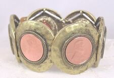 Hammered Gold Metal With Penny Stretch Bracelet Fashion Jewelry New