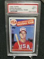 1985 Topps MARK McGWIRE Rookie USA Baseball #401 PSA 7 NM RC A's - Athletics🔥